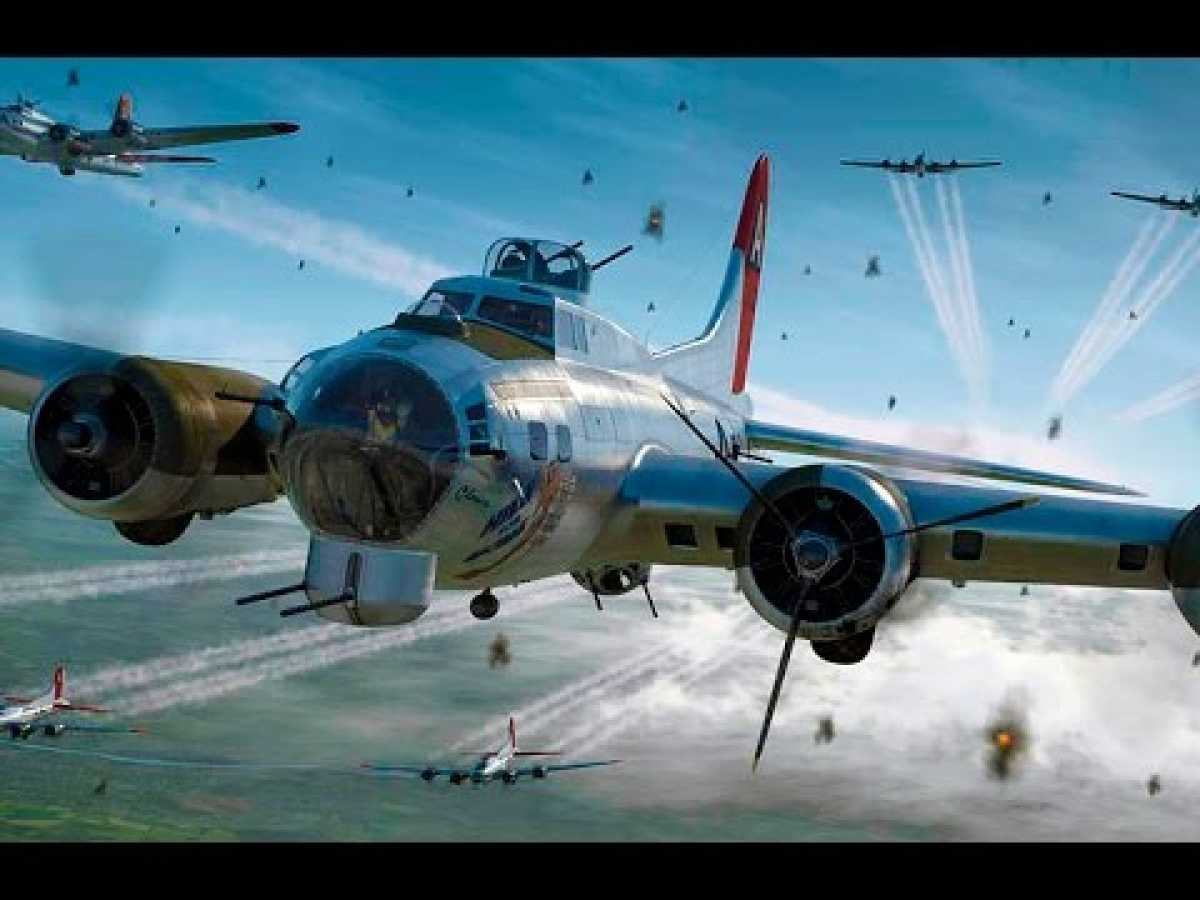 WWII B-17 Flying Fortresses Defend Themselves From Incoming Fighters in Color